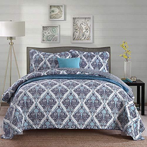 Gravan Queen Quilt Sets with Shams ❤️ 3-Piece Oversized Bedding Bedspread Coverlet Set ❤️ Purple Lattice Printed