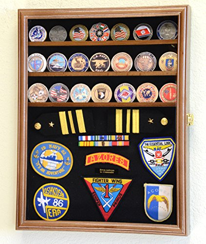 Challenge-Coin-Medals-Pins-Badges-Ribbons-Insignia-Buttons-Chips-Combo-Display-Case-Box-Cabinet-Walnut-Finish