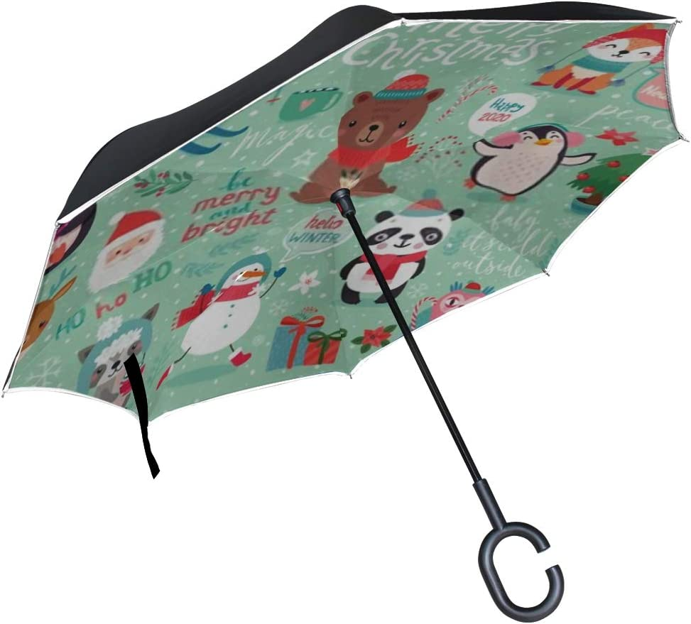 Double Layer Inverted Inverted Umbrella Is Light And Sturdy Christmas Set Hand Drawn Style Calligraphy Reverse Umbrella And Windproof Umbrella Edge N