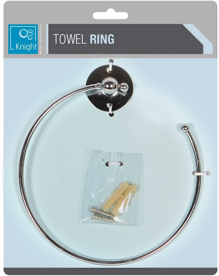 2x Oceana Towel Ring Chrome Metal Wall Mounted Towel Holder With Screws Fitting