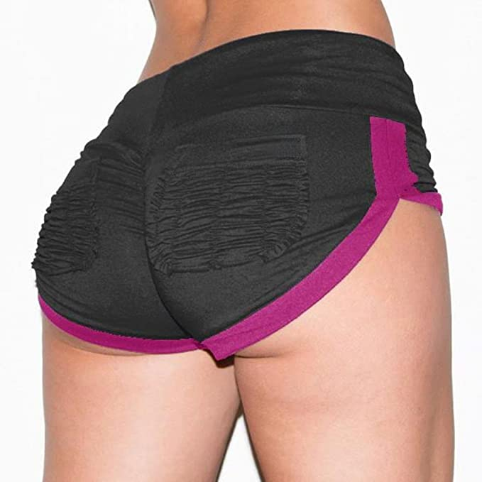 46b9d913e3 Shorts deportivos de bolsillo para mujeres Gym Workout Waistband Skinny  Yoga Short Pants pantalon corto mujer