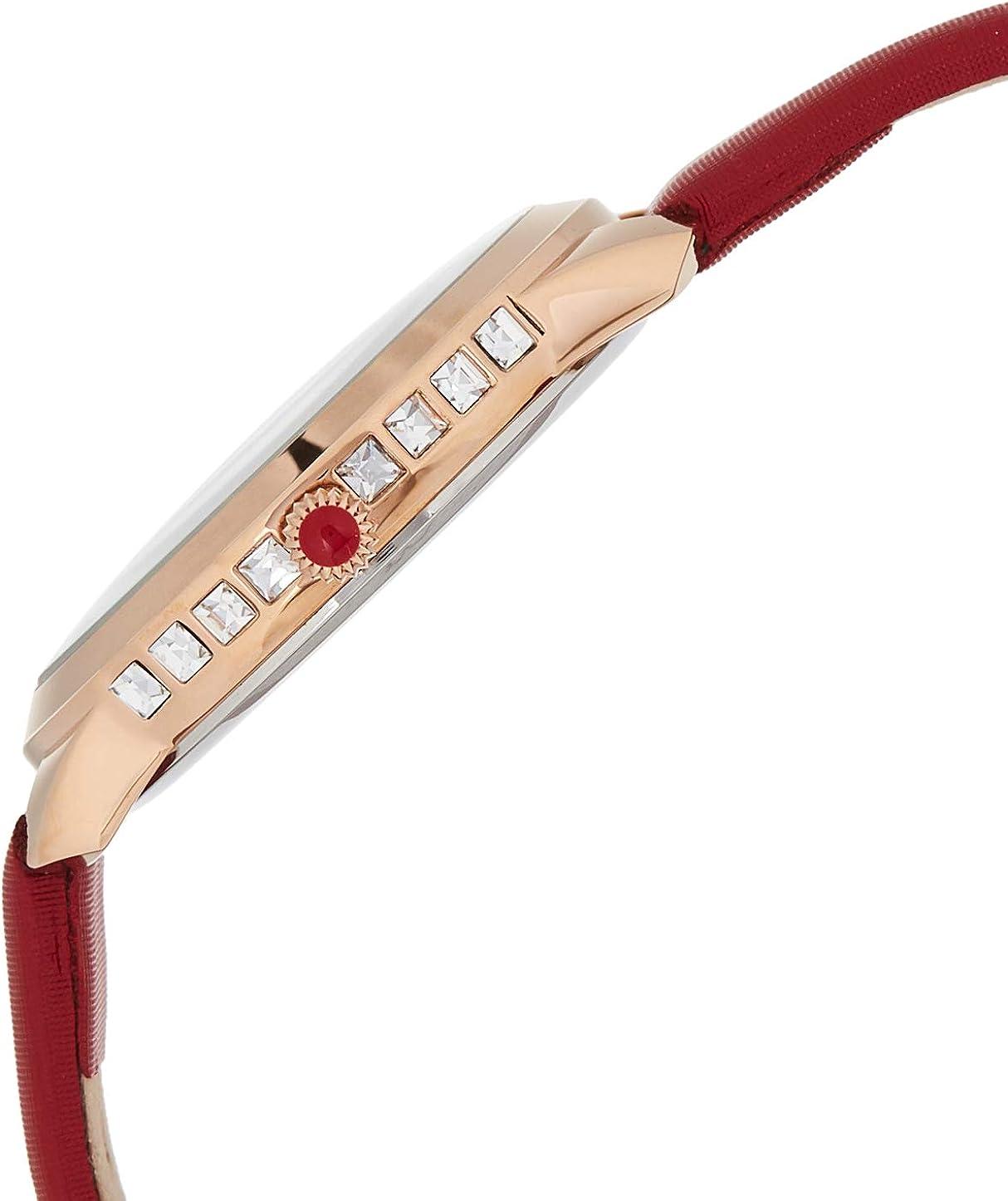 Akribos Swarovski Crystal Studded Watch – 3 Genuine Diamond Markers, Comfortable Leather Strap, Japanese Quartz - Elegant Women's Watch - AK1059 Red & Rose Gold