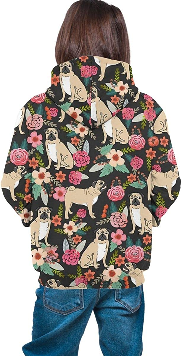 Puppy Floral Flowers Gril Hooded Sweate Pullover Drawstring Pocket Soft Coat for Teen