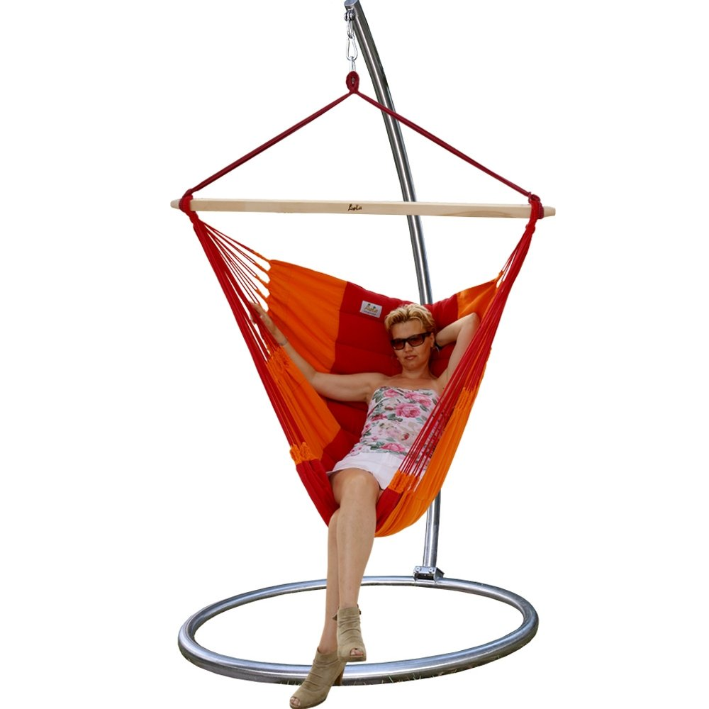Chico Omega Hängemattengestell Edelstahl mit Panorama Chair DeLuxe Flamingo