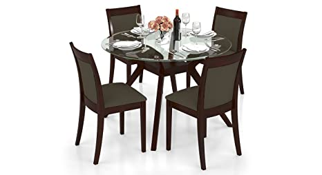 7403d6d829f Urban Ladder Wesley - Dalla 4 Seater Round Glass Top Dining Table Set  (Colour