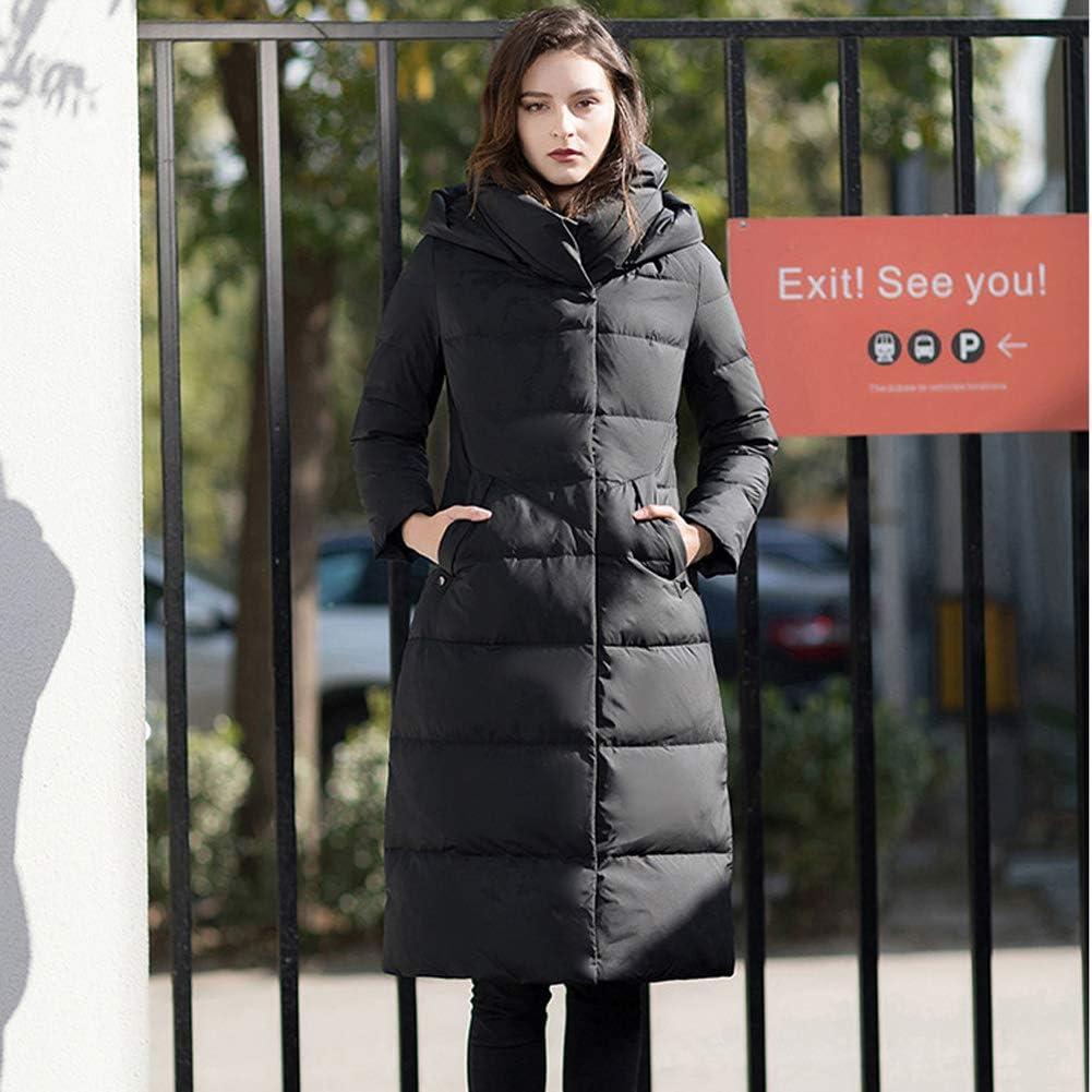 Byjia Piumino Invernale, Cappotto Lungo da Donna Thicke Cappuccio Cerniera Outwear Eskimo Nero