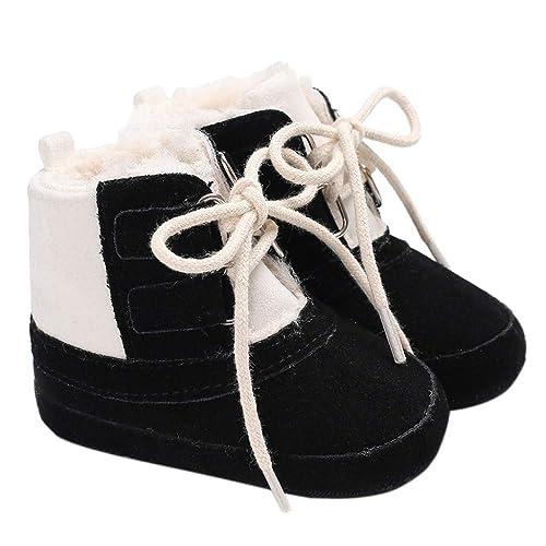 Haorw Botas de Invierno para bebés Contraste Color Botines con Cordones Antideslizantes Zapatos para niños pequeños