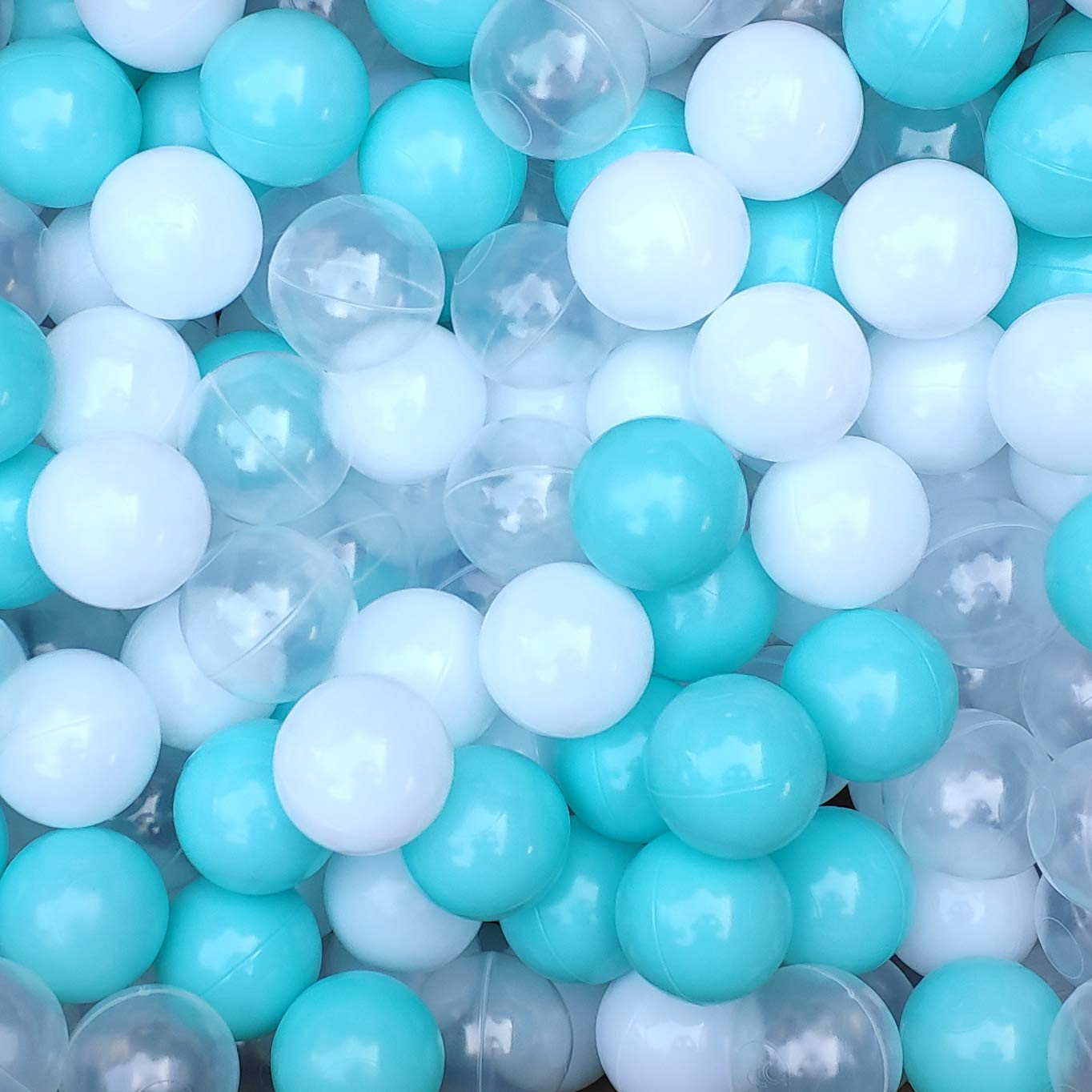 Thenese Pit Balls for Kids 400 pcs 2.15 Inches Thicken Soft Plastic Crush Proof Ball Pit Balls BPA Phthalate Free Baby Toddler Toy Ball with 3 Color White Clear and Green