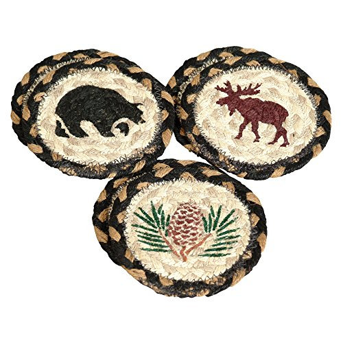 Pinecone Tableware - Moose, Bear & Pinecone Braided Coasters - Set of 6 - Lodge Kitchen Tableware