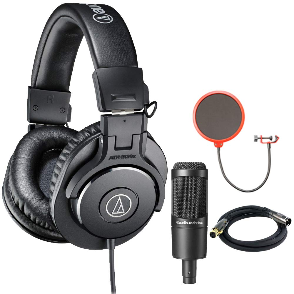 Audio-Technica ATH-M30x Professional Headphones w/Microphone Bundle Includes, Cardioid Condenser Microphone, Pop Filter Microphone Wind Screen & XLR Male to XLR Female 16AWG Cable, Gold Plated, 10'
