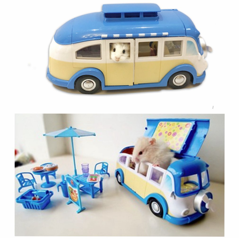Leowow Small Animal Hideout Hamster House Mini Hamster Toys-Blue
