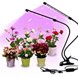 Gardguard LED Grow Lights, 20W Dual Head Red Blue Spectrum Plant Lights, 40 LED Lamps 9 Dimmable Brightness Plant Lights, 3 S