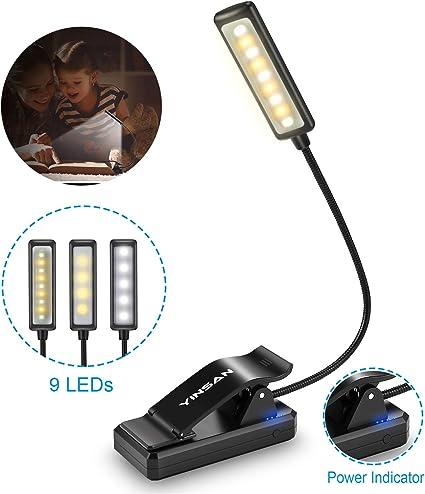 Luz de Lectura Recargable, YINSAN 9 LED Luz de Libro, 9 Modos de ...