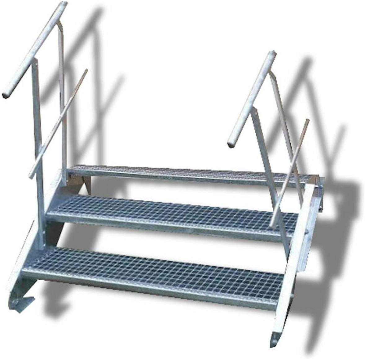 Escalera de acero de 3 peldaños con barandilla a ambos lados, altura de planta 40 – 60 cm, Gris: Amazon.es: Bricolaje y herramientas
