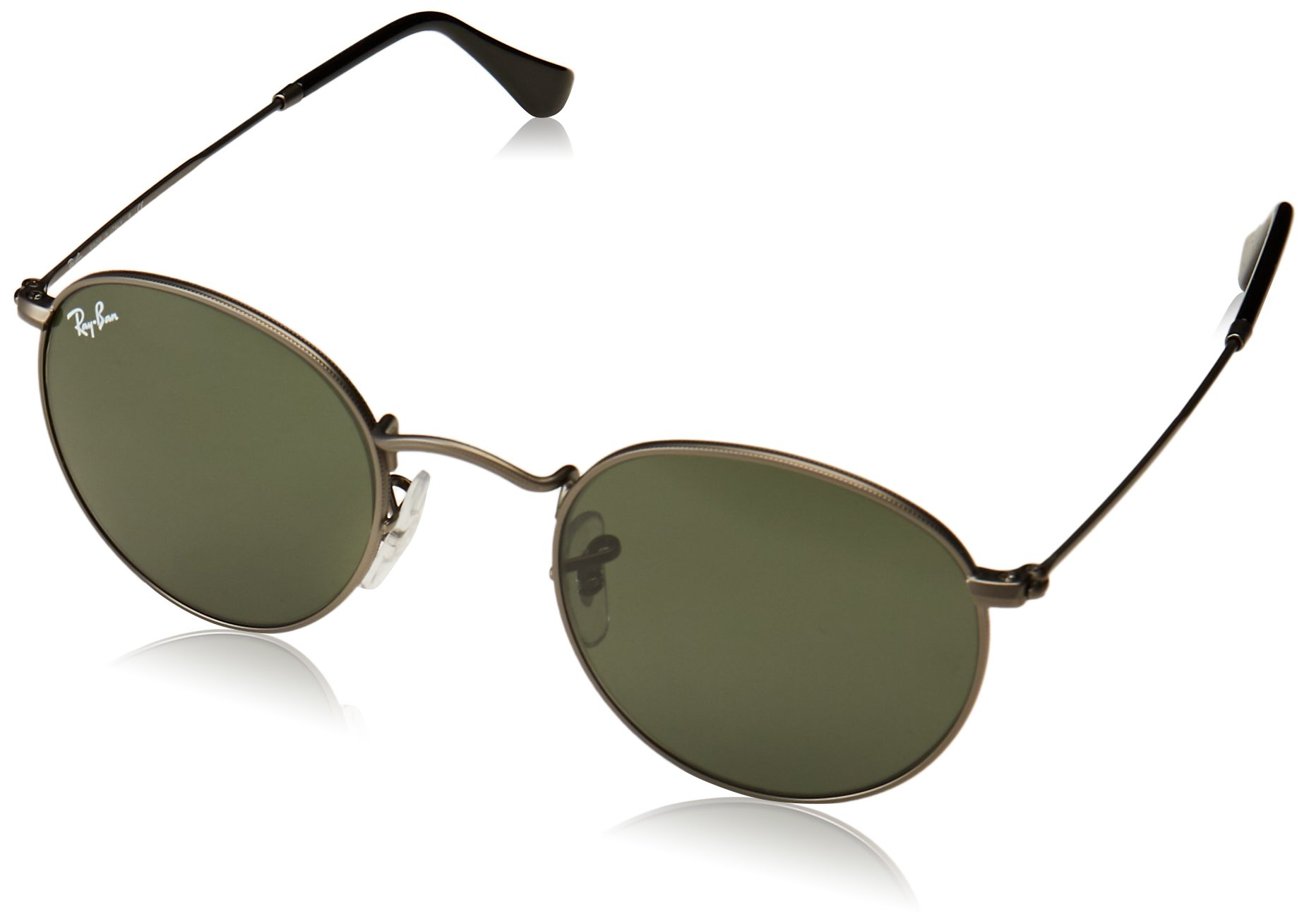 RAY-BAN RB3447 Round Metal Sunglasses, Matte Gunmetal/Green, 47 mm by Ray-Ban