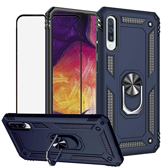 BestShare for Samsung Galaxy A50 Case & Tempered Glass Screen Protector, Rugged Hybrid Armor Anti-Scratch Shockproof Kickstand Cover Compatible ...