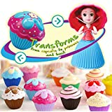 Vndaxau 2pcs Cupcake Surprise Scented Princess Doll,Reversible Cake Transform To Mini Princess Doll