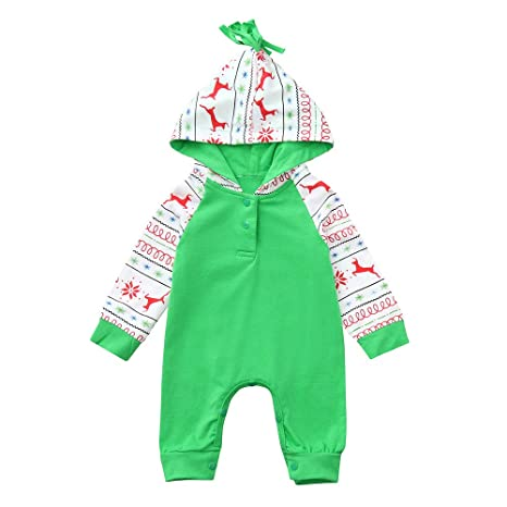 callm Newborn Infant Baby Christmas Boys Girls Deer Romper Jumpsuit Outfits Clothes