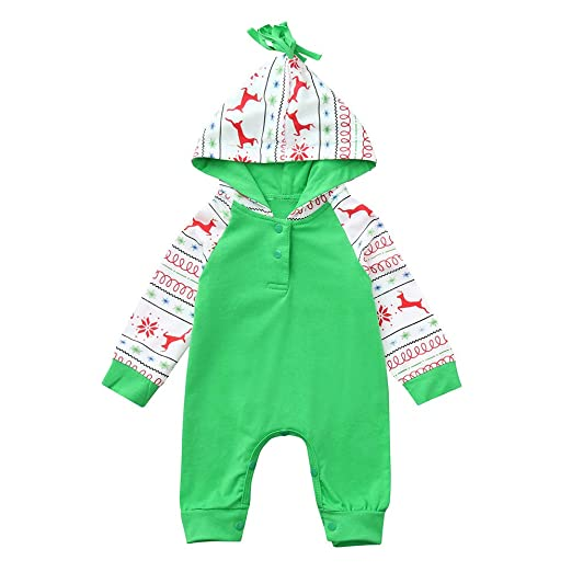 716b5e04655 Sikye Christmas Cartoon Deer Print Newborn Baby Boys Girls Long Sleeve  Romper Hooded Bodysuit Outwear (