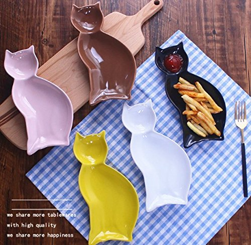 Stock Show 1Pc Cute Cat Shape Ceramic Plate Tableware, Multicolor Procelain Kitchen/Ktv/Bar Food Holder Container for Snack/Chips/chicken Wings/Fruit/Sushi(Black)