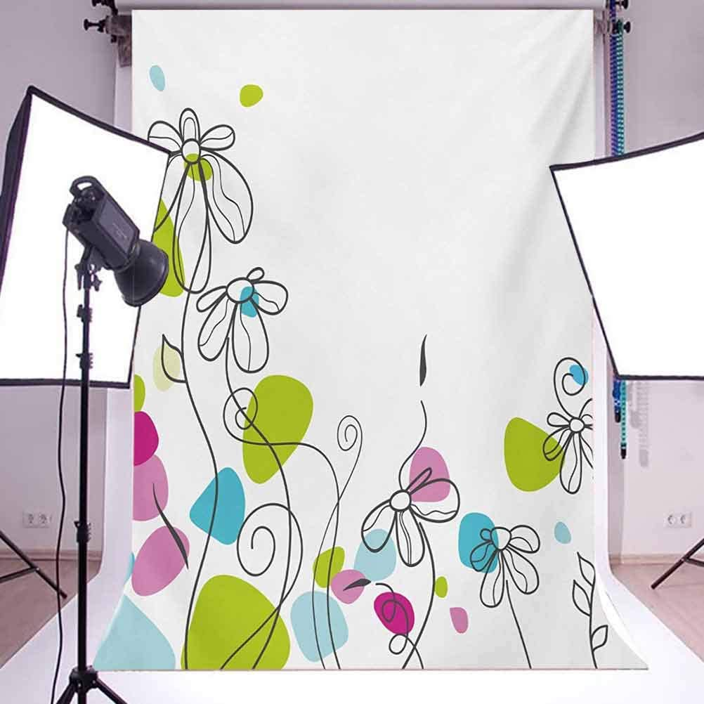 Floral 6.5x10 FT Backdrop Photographers,Chamomiles Daisy Flowers Spring Florets Blossoms Buds Leaves Nature Summer Design Background for Baby Shower Bridal Wedding Studio Photography Pictures