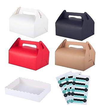 Winko cajas de regalo, caja de regalo decorativa Kraft, juego de 12 cajas de chocolate para pasteles, 12 bandejas y 45 pegatinas incluidas (4 colores): ...