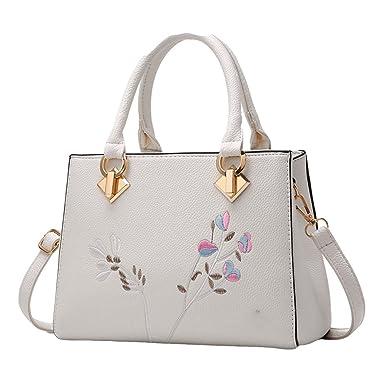 Umhängetasche Damen Damen Schräge Quadratische Tasche Handtasche Leder,Grey-OneSize GKKXUE