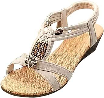 Women's Flat Sandals Open Toe Ankle Strap Sandals Bohemian Elastic Strappy Thong Summer Beach Sandals Beige