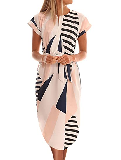 a4ba8cb6a0c5d Temofon Womens Dresses Summer Casual Floral Geometric Pattern Short Sleeve  Midi V-Neck Party Dress with Belt S-2XL