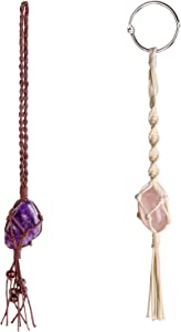 Dahey Macrame Crystal Car Charms Handmade Crystal Rear View Mirrior Car Ornament Boho Hanging Crystal, Waxed Rope Wrapped Crystal Hanging for Car Home Decor,Set of 2 Color