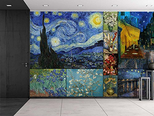 Peel and Stick Wallpapaer Famous Paintings Collage By Vincent Van Gogh Removable Large Wall Mural Creative Wall Decal