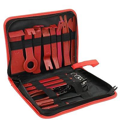 19 outils de démontage de garniture de voiture, kit d'outils de retrait de panneau de porte avec pince à clipser, kit d'outils de démontage d'autoradio audio et de retrait en nylon robuste Bricolage