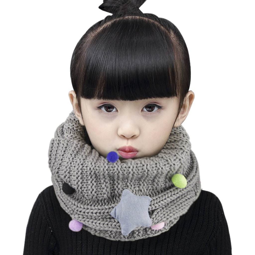 Kids Toddler Winter Thicken Warm Scarf Wraps Boys Girls Wool Knitted lovely Star Neck Warmer Scarves Neckerchiefs Baby Children Thermal O Ring Neck Scarves Shawl with Pompom Ball, Xmas New Year Gift