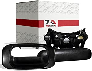 T1A Tailgate Handle and Bezel Replacement for 1999-2007 Chevy Silverado and GMC Sierra, Rod Clips Included, Also Fits 1500, 2500, 3500 HD Pickup Truck, Black Color, T1A-15228539 & T1A-15997911