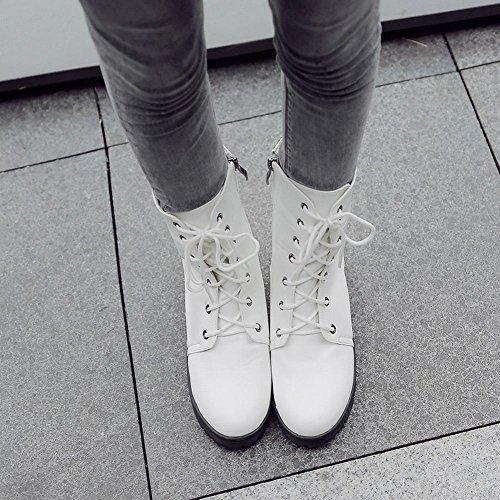 Carolbar Femmes Lace Up Zip Chaud Confort Hiver Chukka Bottes Courtes Blanc