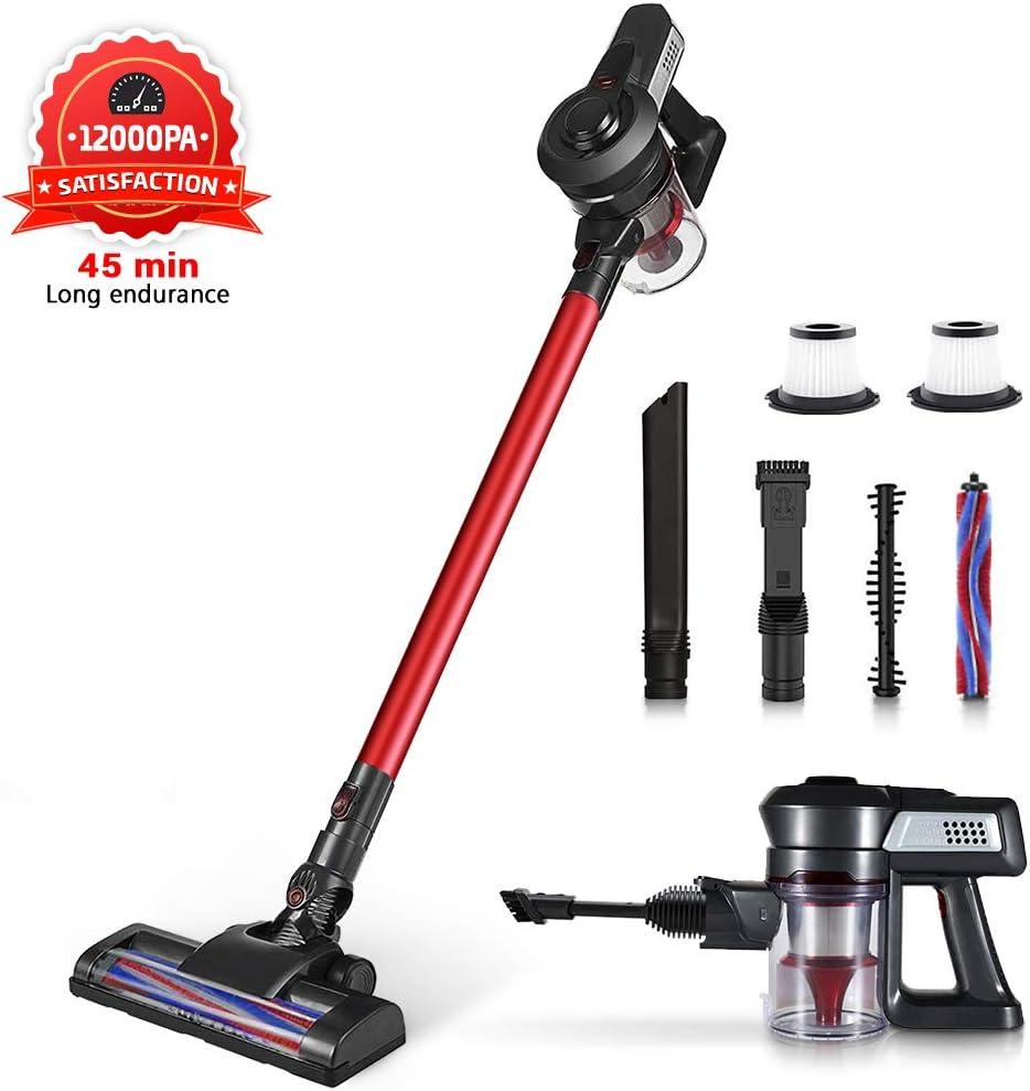 HueLiv Aspirador Escoba, 12000Pa Aspiradora sin Cable Vertical y ...