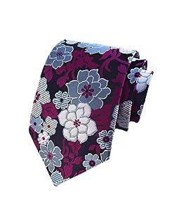 BESMODZ Men's Novelty Paisley Floral Blue Neck Tie Wedding Business Ties Vintage