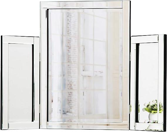 RICHTOP Espejo de tocador Espejo de tocador de Mesa de Plegado Triple para Sala de Maquillaje de Dormitorio 78 x 54 cm: Amazon.es: Hogar
