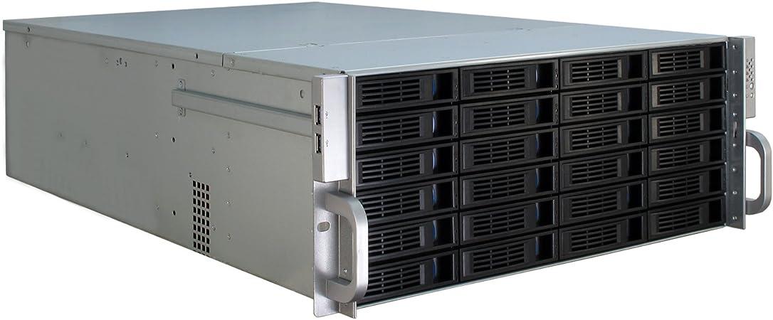 Inter-Tech 4U-4424 Estante Negro, Plata - Caja de Ordenador (Estante, Servidor, Metal, ATX,EATX,EEB,Mini-ITX,uATX, Negro, Plata, 4U): Amazon.es: Informática