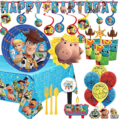 MEGA Toy Story 4 Birthday Party Supplies and Decoration Pack For 16 With Plates, Napkins, Tablecover, Cups, Cutlery, Balloons, Candle, Birthday Banner, Swirls, Paper Sheriff Straws, and Exclusive Pin