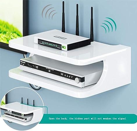 Console multim/édia Murale en m/étal YANQ Tablette Flottante pour Composants de t/él/évision pour bo/îtes de c/âbles//routeurs//t/él/écommandes//lecteurs DVD//Consoles de Jeu Veuillez Vous Report 2 Niveaux