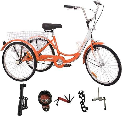 MOPHOTO Bicicleta de Triciclo para Adultos con 3 Ruedas para Hombres y Mujeres con Cesta Grande y Herramientas de Mantenimiento: Amazon.es: Deportes y aire libre