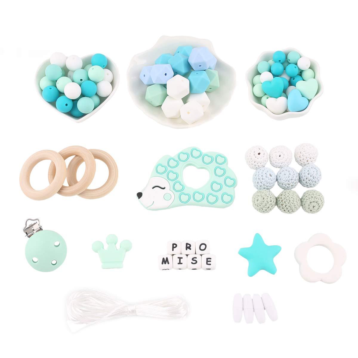 Promise Babe DIY Kit de Perles de Dentition Perles Octogonales Anneau en Bois H/érisson Silicone Anneau de Dentition Chew Jewelry Attache Sucette Bracelet Collier Jouet Montessori