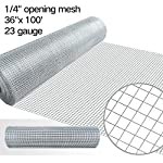 36inch Hardware Cloth 100 ft 1/4 Mesh Galvanized Welded Wire 23 gauge Metal Roll Vegetables Garden Rabbit Fencing Snake Fence for Chicken Run Critters Gopher Racoons Opossum Rehab Cage Wire Window