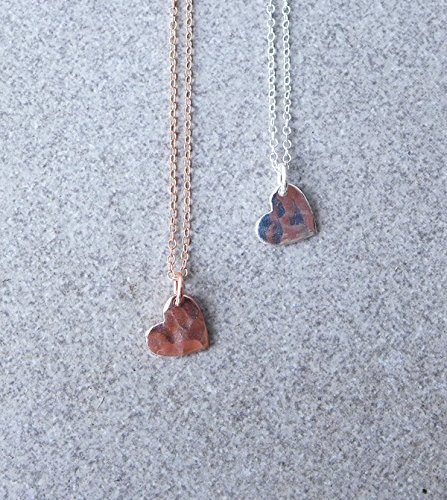 Hill Tribe Silver Rose Pendant - Sterling Silver or Rose Gold Petite Hammered Heart Necklace or Choker, Valentines Day Gift For Her