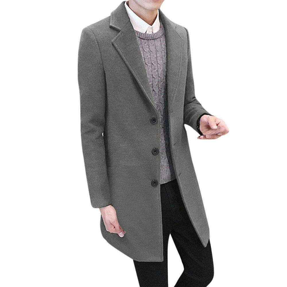 Emerayo Mens Formal Single Breasted Woolen Coat Slim Solid Color Overcoat Long Jacket Outwear