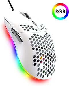 Lightweight Gaming Mouse,26 Kinds RGB Backlit Mice,PixArt 3325 12000 DPI Mouse,Ultralight Honeycomb Shell Ultraweave Cable Mouse and Anti-Key Can Be Set for PC Gamers and Xbox and PS4 Users(White)