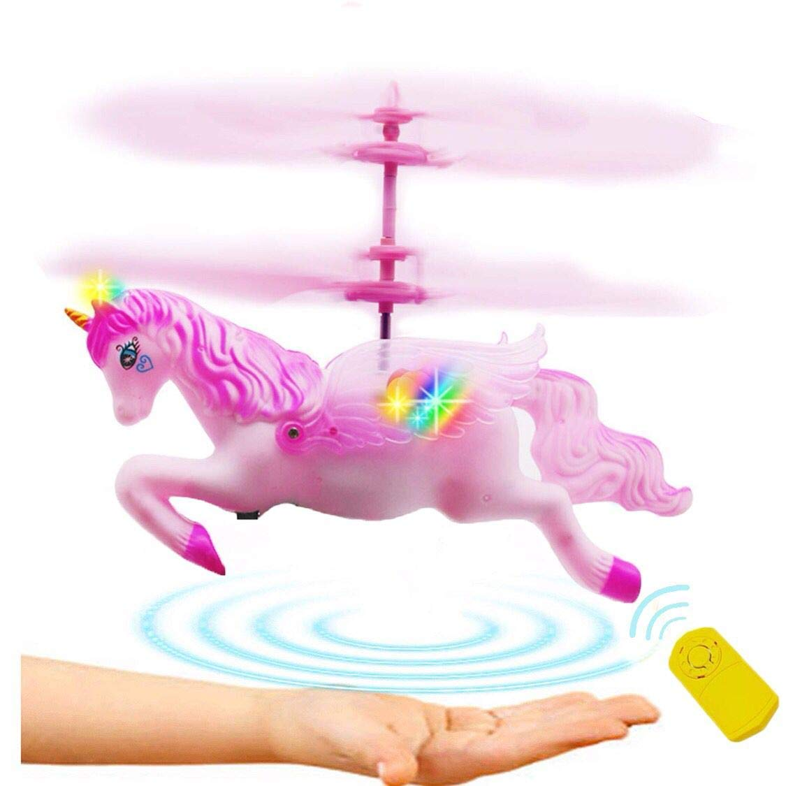 Anda Unicorn Toy Gift Girl 6 Years Old, Pink Mini RC and Hand Control Flight Helicopter Unicorn Fairy Tale Doll Birthday Christmas Party Supplies.(Flying Unicorn) by Anda