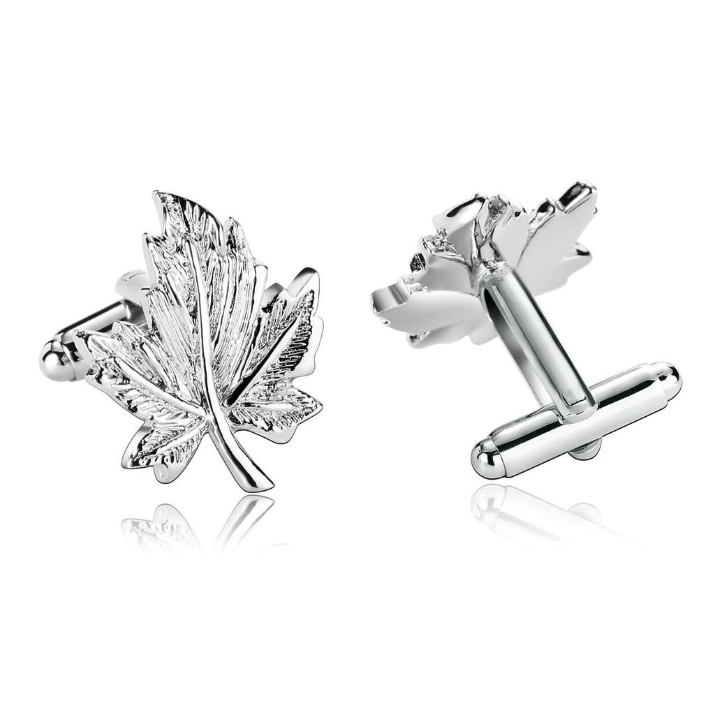KnBoB Jewellery Stainless Steel Mens Cufflinks Novelty Maple Leaf Leaves Shape Silver Shirt Cuff Links KBPJS365CL