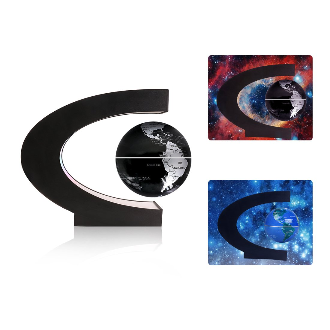 Magnetic Floating Globe 3inch Rotating Mysteriously Suspended In Air World Map with LED Lights for Children Gift Home Office Desk Decoration (Black)